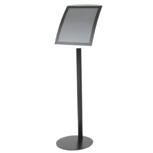 Full height view of black floor-standing A3 size sign holder
