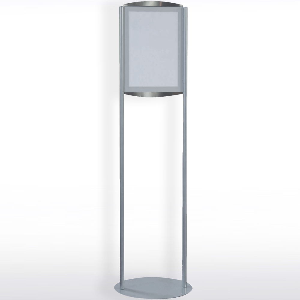 Full height view of the double sided A3 magnetic free-standing sign display unit