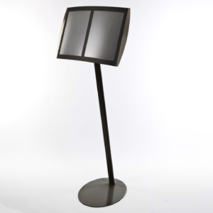 Free standing magnetic menu display stand to hold 2 pages in black finish