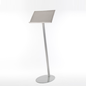 Silver finish lectern which compliments the free-standing Satellite collection