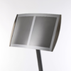 Close view of the twin panel magnetic menu holder in silver