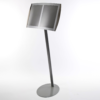 Twin panel free standing magnetic menu display stand in silver