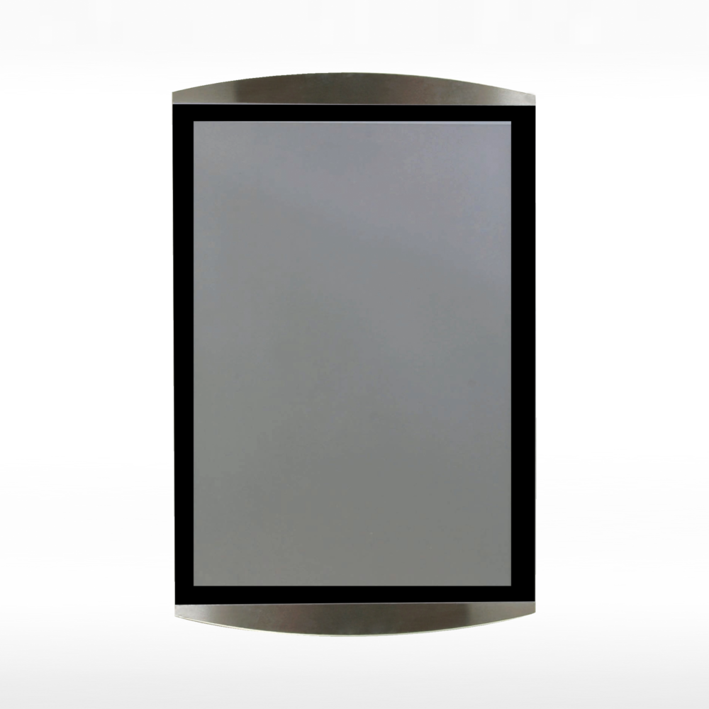 Wall mounted magnetic sign holder - A4 black - shown in vertical position