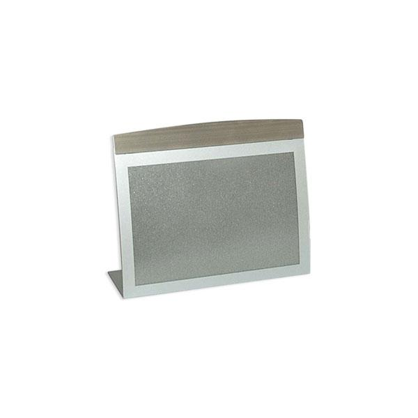 A6 horizontal tabletop sign holder or menu holder in silver finish