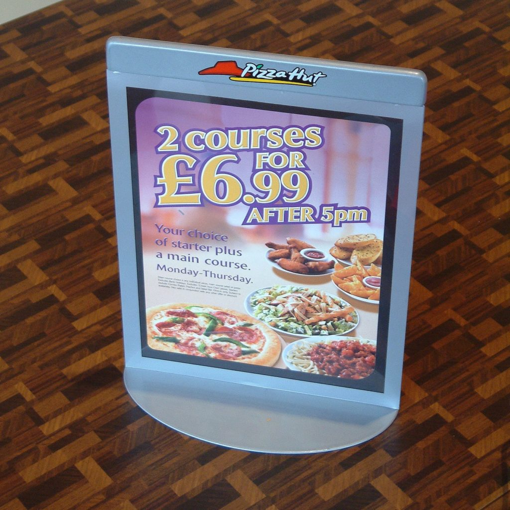 Double sided menu holder for Pizza hut, inspired by our free-standing sign holder