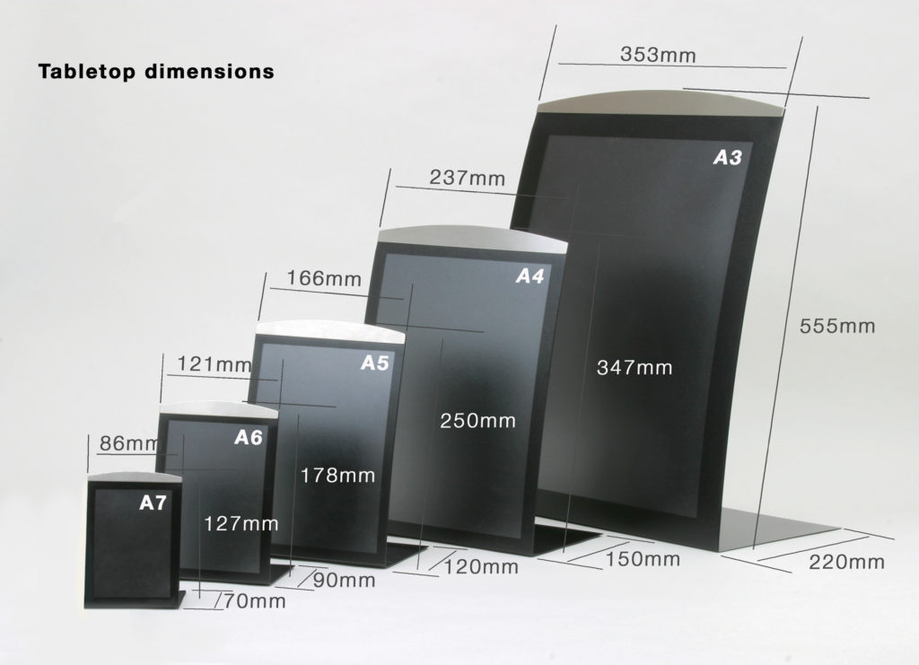 Range of Satellite magnetic tabletop signs from A7 to A3